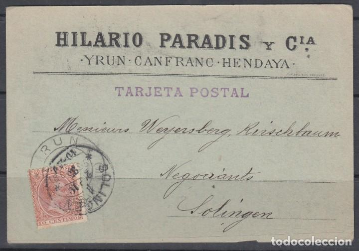 TARJETA POSTAL INICIATIVA PRIVADA, IRUN - SOLINGEN. (ALEMANIA) (Sellos - España - Alfonso XIII de 1.886 a 1.931 - Cartas)