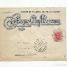 Sellos: CIRCULADA 1925 DE CALZADOS ALOY MAHON A PALMA DE MALLORCA BALEARES . Lote 140513490