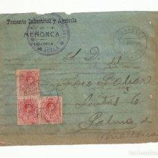 Sellos: FRONTAL CIRCULADA 1918 DE FOMENTO INDUSTRIAL AGRICOLA CIUDADELA A FORO PALMA DE MALLORCA BALEARES . Lote 140565746