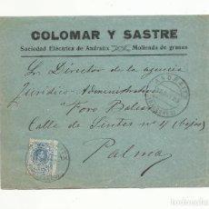 Sellos: FRONTAL CIRCULADA 1923 DE SOCIEDAD ELECTRICA ANDRAITX A PALMA DE MALLORCA BALEARES. Lote 140709762