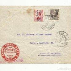 Sellos: FRONTAL CIRCULADA 1935 HARINERA DE MONTBLANCH TARRAGONA A PALMA DE MALLORCA BALEARES. Lote 140750426