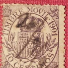 Sellos: ESPAÑA. FISCALES POSTALES, 1901. ESCUDO DE ESPAÑA. 10 CTS. VIOLETA (Nº 20 EDIFIL).. Lote 142631210