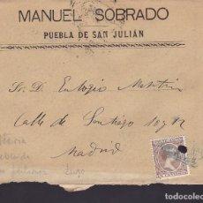 Sellos: F2-13- CARTA ALFONSO XIII 1898. MATASELLOS CARTERÍA PUEBLA DE SAN JULIAN (LUGO). CON TEXTO. Lote 143463966