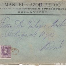 Sellos: F2-13- CARTA ALFONSO XIII 1905. MATASELLOS CARTERÍA IP ESCLAVITUD . CON TEXTO. Lote 143465022