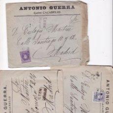 Sellos: F2-17-LOTE 3 CARTAS ALFONSO XIII . MATASELLOS CARTERÍA CACABELOS (LEÓN). 3 COLORES . CON TEXTO. Lote 143468290