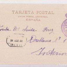 Sellos: POSTAL. CORREO INTERIOR MADRID. FRANQUICIA DE LA DIRECCIÓN DE CORREOS. 1902. Lote 143764142