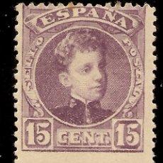 Sellos: EDIFIL 246* MH 15 CÉNTIMOS VIOLETA SERIE CADETE 1901/1905 NL868. Lote 130596078