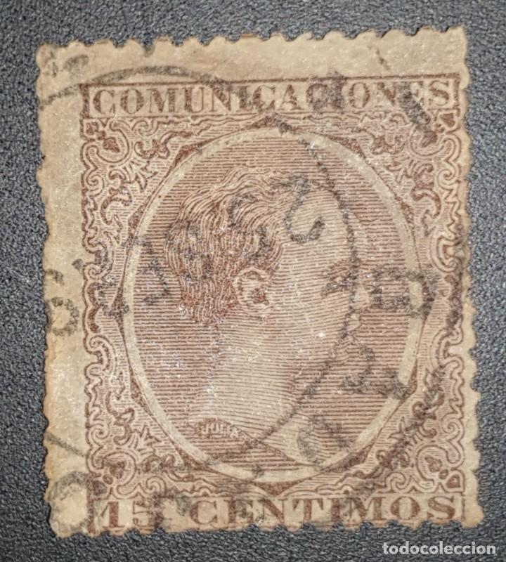 SPAIN - REY ALFONSO XIII - MARRÓN VIOLETA - 1889 - 15 C (Sellos - España - Alfonso XIII de 1.886 a 1.931 - Usados)