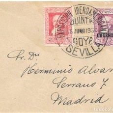 Sellos: GOYA. EDIFIL 507 - 516. SOBRE CIRCULADO DE SEVILLA A MADRID. 1930. Lote 146024638