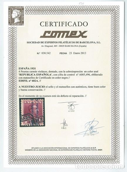 Sellos: EDIFIL 602A.ALFONSO XIII.CERTIFICADO COMEX.CATÁLOGO 3.700€ - Foto 3 - 146456610