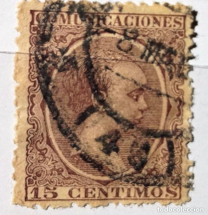 ESPAÑA 1889-1899 15 CENTIMOS DE PESETA ALFONSO XIII TIPO PELÓN (Sellos - España - Alfonso XIII de 1.886 a 1.931 - Usados)