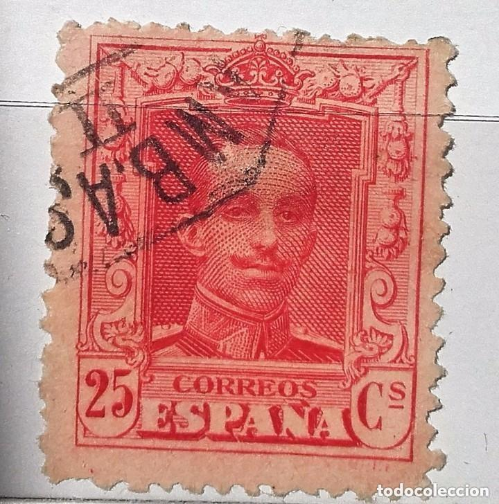 ESPAÑA 1922 SELLO º ALFONSO XIII 25C USADO, CON Nº EN EL DORSO (Sellos - España - Alfonso XIII de 1.886 a 1.931 - Usados)
