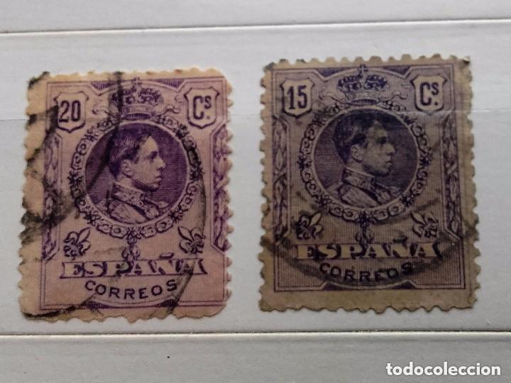 ESPAÑA 1909 2 SELLOS ALFONSO XIII 15C Y 20C USADOS, CON Nº EN EL DORSO (Sellos - España - Alfonso XIII de 1.886 a 1.931 - Usados)