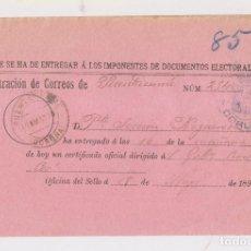 Sellos: RESGUARDO DE CORREOS. DOCUMENTOS ELECTORALES. PUENTEDEUME, CORUÑA, GALICIA. 1899. Lote 150032694