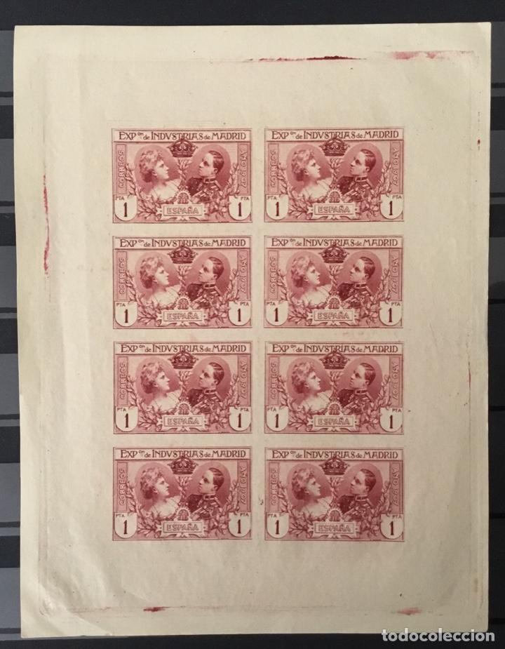 1907-ESPAÑA SR 5 INDUSTRIAS 1 PTA. BLOQUE DE 8 SIN DENTAR EN MINIPLIEGO. (SR1/6) (Sellos - España - Alfonso XIII de 1.886 a 1.931 - Nuevos)