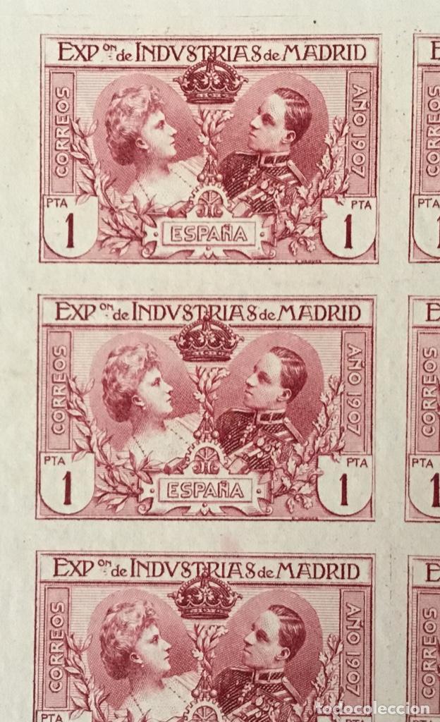 Sellos: 1907-ESPAÑA SR 5 INDUSTRIAS 1 PTA. BLOQUE DE 8 SIN DENTAR EN MINIPLIEGO. (SR1/6) - Foto 2 - 150501766