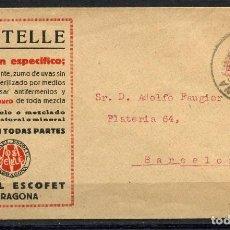 Sellos: ALFONSO XIII, SOBRE PUBLICITARIO, BEBIDAS MOSTELLE, 1924, TARRAGONA. Lote 151021074