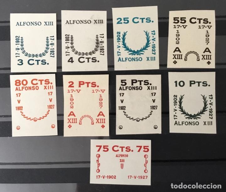 1927-ESPAÑA JUEGO IMPRONTAS SOBRECARGAS CRUZ ROJA TERRESTRE EDIFIL 373/87 GALVEZ 2215/17 Y 2221/26 (Sellos - España - Alfonso XIII de 1.886 a 1.931 - Nuevos)