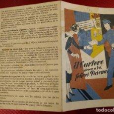 Sellos: EL CARTERO DESEA A UD. FELICES PASCUAS TABLA DE PRECIOS. DÍPTICO. 16 X 10,50 CM. Lote 151375258