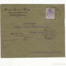Sellos: CIRCULADA 1922 DE MAHON A PALMA DE MALLORCA BALEARES. Lote 152028410