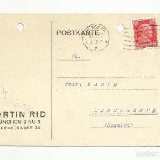 Sellos: TARJETA CIRCULADA 1927 DE MUNCHEN MUNICH ALEMANIA A CARCAIXENT CARCAGENTE VALENCIA. Lote 152031114