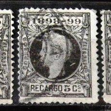 Sellos: EDIFIL 240, TRES SELLOS, USADOS. ALFONSO XIII. IMPUESTO GUERRA.. Lote 152416850