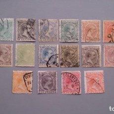 Sellos: ESPAÑA -1889-1901 - ALFONSO XIII - EDIFIL 213/228 - SERIE COMPLETA - CENTRADOS - VALOR CATALOGO 500€. Lote 154306778