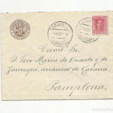 Selos: CIRCULADA 1928 DE COMISION MONUMENTOS DE CARCASTRILLO A PAMPLONA NAVARRA . Lote 154325098