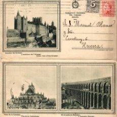 Sellos: POSTAL DOBLE DE SEGOVIA CIRCULADA A HUESCA - 1931. Lote 154808758