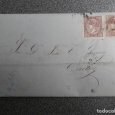 Sellos: CARTA COMPLETA AÑO 1869 SEVILLA A CÁDIZ MEMBRETE LINEA VAPORES M. SAENZ A LONDRÉS DOBLE EDIFIL 98. Lote 154993170