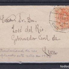 Sellos: CARTA DE VIGO A LEON, SELLO Nº 271 MATASELLO AMBULANTE VIGO MADRID 4/1/28. Lote 155653022