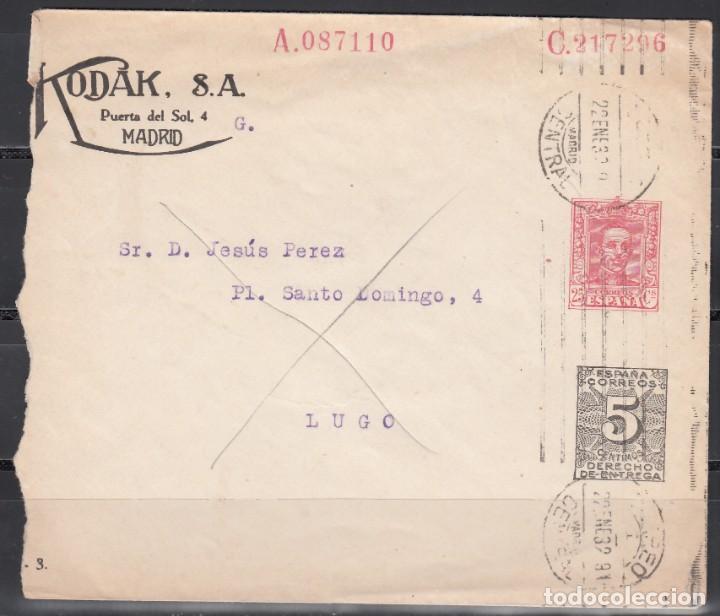 ENTERO PRIVADO KODAK, FRANQUEO 25CTS MAS 5CTS DE DERECHO DE ENTREGA, RARO (Sellos - España - Alfonso XIII de 1.886 a 1.931 - Cartas)