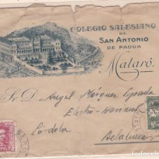 Timbres: CARTA DE MATARÓ A BELALCAZAR CON BONITO MEMBRETE DEL COLEGIO SALESIANO.. Lote 156863386