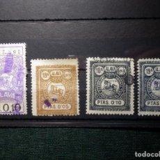 Sellos: LOTE 4 SELLOS FISCALES - IMPUESTO PROVINCIAL DEL TIMBRE - ALAVA - 0,10 - 0,05 - 18 Y 19 CLASE. Lote 156958562