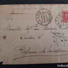 Sellos: FRONTAL CIRCULADA 1928 DE MAHON A PALMA DE MALLORCA BALEARES VER FOTO. Lote 158807778