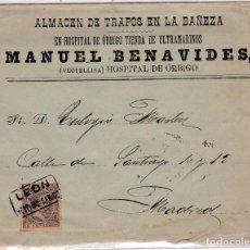 Sellos: CARTA DE HOSPITAL DE ORBIGO A MADRID CON SELLO Nº 219 MATASELLO CARTERIA TIPO II . . Lote 159461186