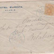 Sellos: CARTA DE ALANJE A BELALCAZAR (CORDOBA) SELLO ALFONSO XIII MATASELLO FECHADOR. . Lote 159462210