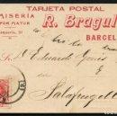 Sellos: ESPAÑA, TARJETA POSTAL PUBLICITARIA, ALFONSO XIII, CAMISERIA R. BRAGULAT, 1910. Lote 160413210