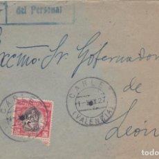 Sellos: FRONTAL DIRIGIDO A LEON CON HUERFANOS DE CORREOS Nº 1 Y MATASELLO CARLET VALENCIA. . Lote 161452066