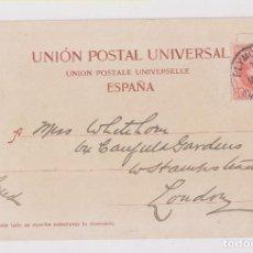 Sellos: POSTAL DE TENERIFE A LONDRES. MATASELLOS PAQUEBOT PLYMOUTH. 1904. Lote 161503998