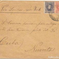 Sellos: EDIFIL Nº 243 - 244. SOBRE CIRCULADO DESDE BALEARES A NUEVITAS - CUBA. 1904. Lote 161696850
