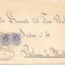 Sellos: EDIFIL Nº 273 TIRA DE TRES. SOBRE CIRCULADO DESDE ALAYOR - BALEARES A PALMA DE MALLORCA. 1922. Lote 161697530