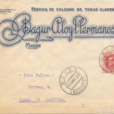 Sellos: EDIFIL Nº 317. SOBRE CIRCULADO DESDE MAHON A PALMA DE MALLORCA. 1925. Lote 161698450