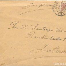 Sellos: EDIFIL Nº 217 BISECTADO. SOBRE CIRCULADO EN EL CORREO INTERIOR DE BARCELONA. 1892. Lote 161703458