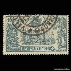 """Sellos: SELLOS ESPAÑA.1905.III CENT. """"EL QUIJOTE"""". 30C VERDE AZUL .USADO.EDIFIL Nº261. Lote 162437234"""