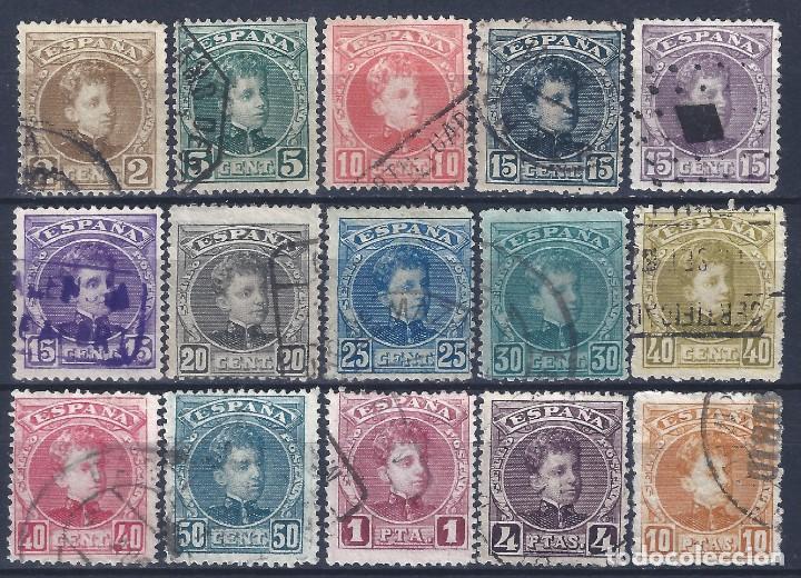 EDIFIL 241-255 ALFONSO XIII. TIPO CADETE. 1901-1905 (SERIE COMPLETA). VALOR CATÁLOGO: 243 €. LUJO. (Sellos - España - Alfonso XIII de 1.886 a 1.931 - Usados)