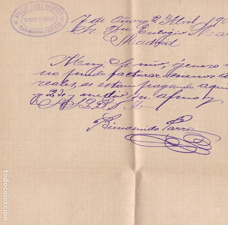 Sellos: F2-52- Carta- ESPEJA (Salamanca) 1902. Con Texto - Foto 2 - 165665350
