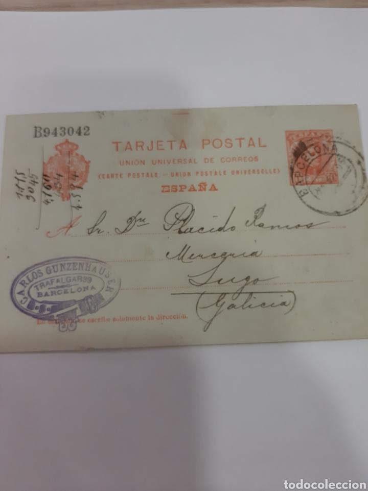 1905 BARCELONA CARLOS GUNZENHAUDER DIRIGIDO LUGO (Sellos - España - Alfonso XIII de 1.886 a 1.931 - Cartas)