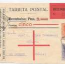 Sellos: EDIFIL 316 - 320. POSTAL CONTRA REEMBOLSO. DE MADRID A CADIZ 1927. Lote 169087236