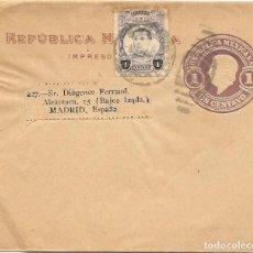 Sellos: MEJICO. ENTERO POSTAL DE IMPRESOS CIRCULADO A MADRID. MAY- 1921. Lote 169831316
